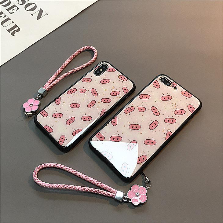 粉色可爱小猪鼻苹果x女款套手机壳