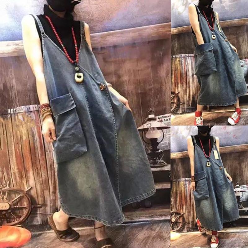春秋季水洗复古牛仔背带连衣裙宽松大口袋斜襟个性潮款吊带长裙潮