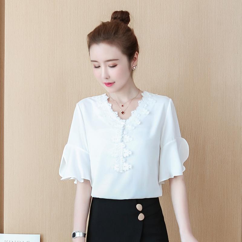 喇叭袖雪纺衫女短袖2020夏款很仙的蕾丝打底衫时尚花边领洋气小衫