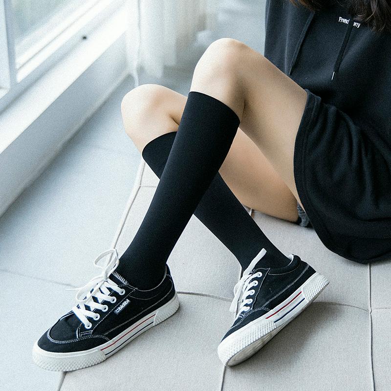 小腿袜子女黑色及膝袜春夏季薄款可爱日系中筒堆堆袜韩版学院风潮