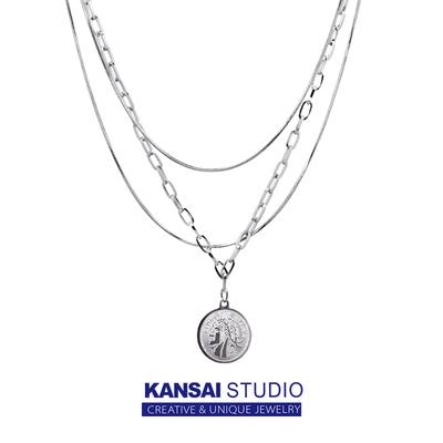 KANSAI自制欧美ins风多层链条人头硬币项链小众设计感锁骨毛衣链