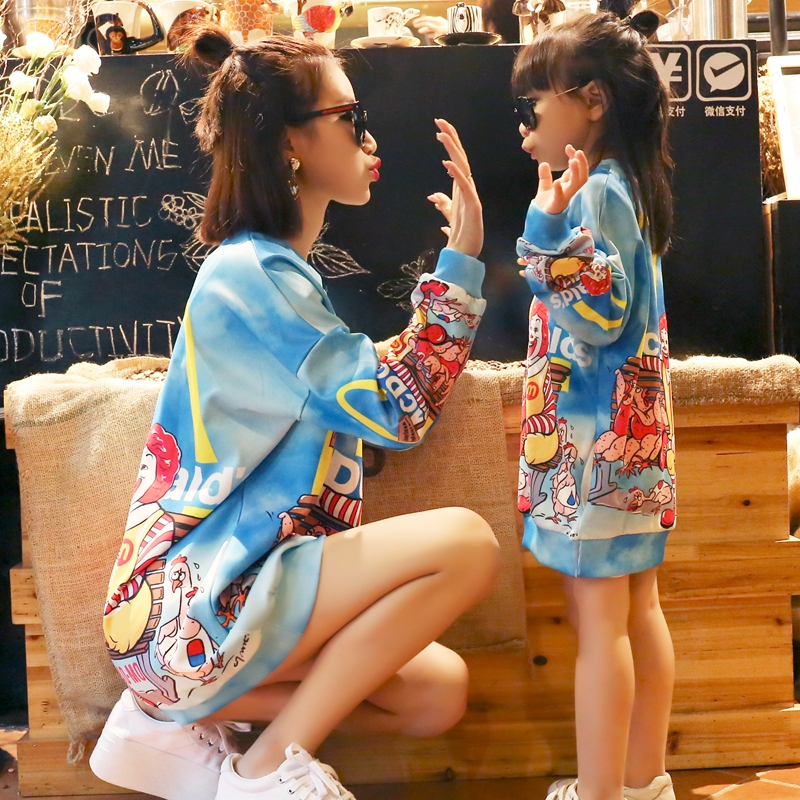 Autumn and winter 2020 womens cartoon printed western style sweater jacket medium length loose large size parent child dress