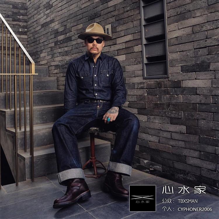 丹宁鼻祖 白橡布CONE DENIM经典复古强品西部款原色普洗牛仔衬衫