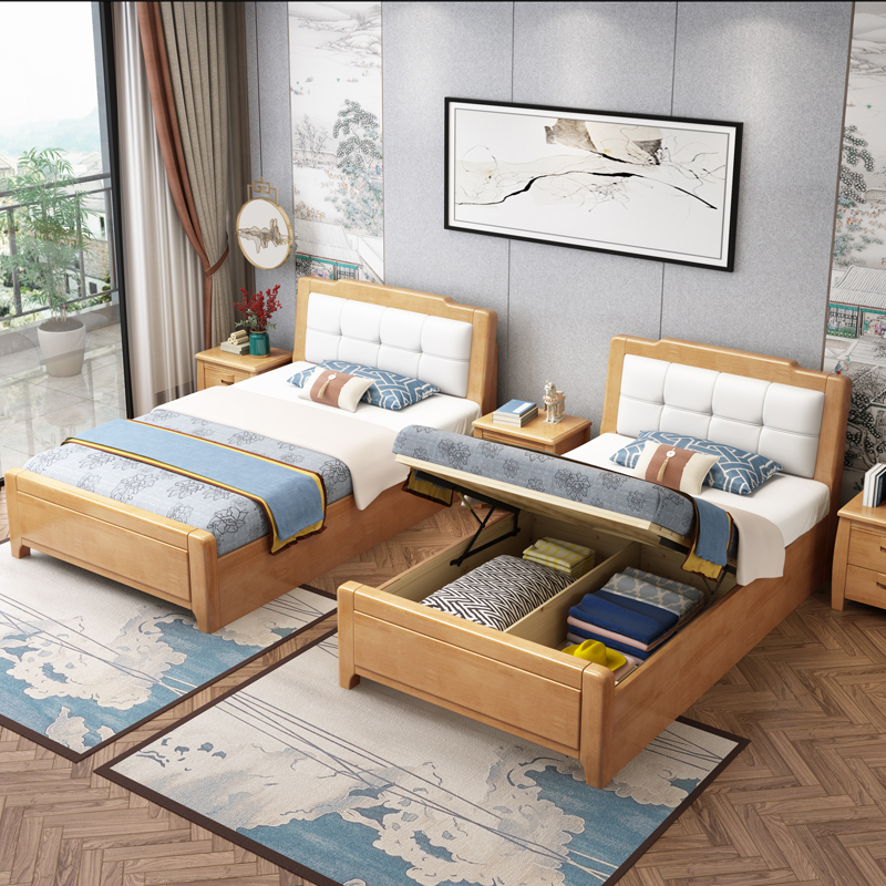Single bed household 1m 2 small family bed 1.5m solid wood double bed 1.35M small bed factory direct sales to northern Europe