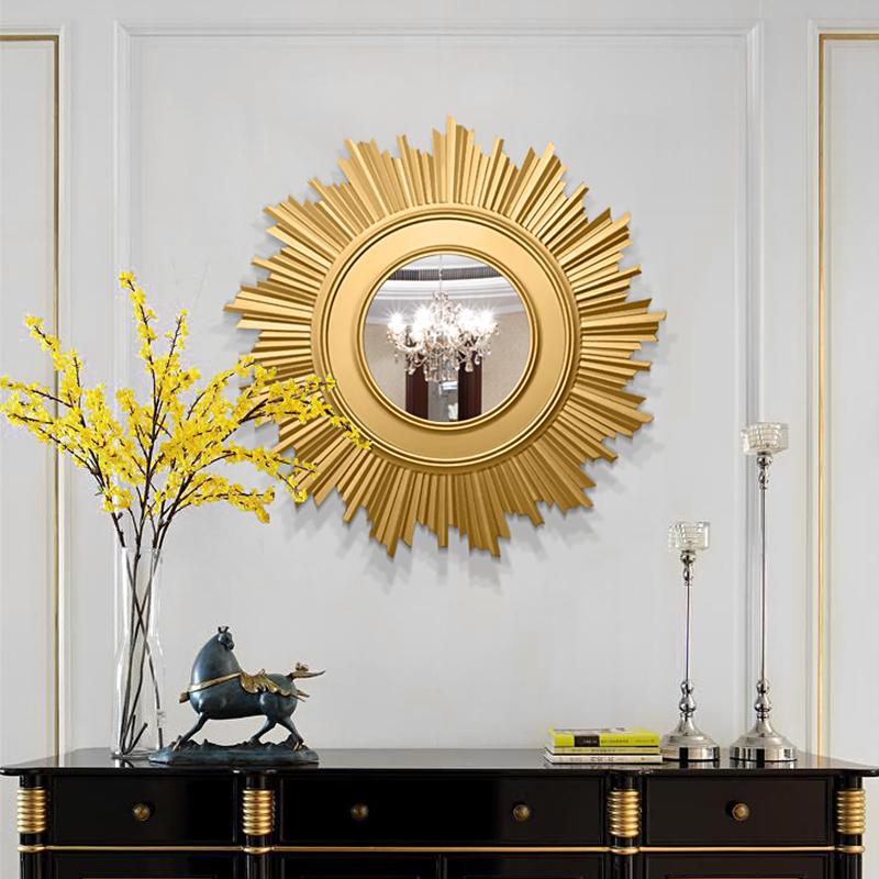 太阳壁挂镜子艺术装饰镜软装家居玄关镜壁炉壁挂镜餐边镜可定做