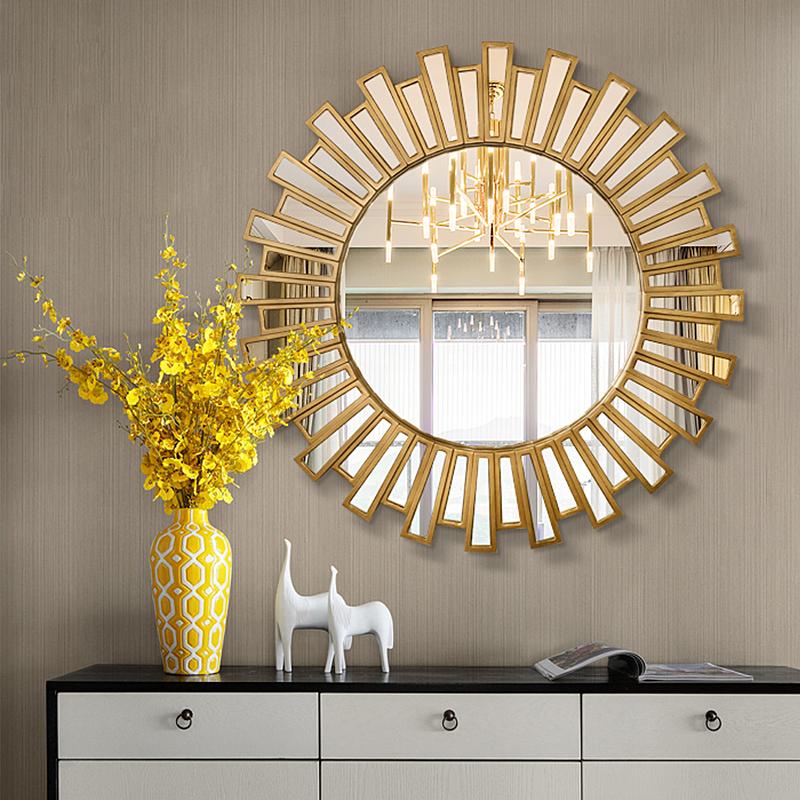 美式装饰镜轻奢艺术玄关镜客厅背景墙面创意太阳壁挂餐边装饰镜子