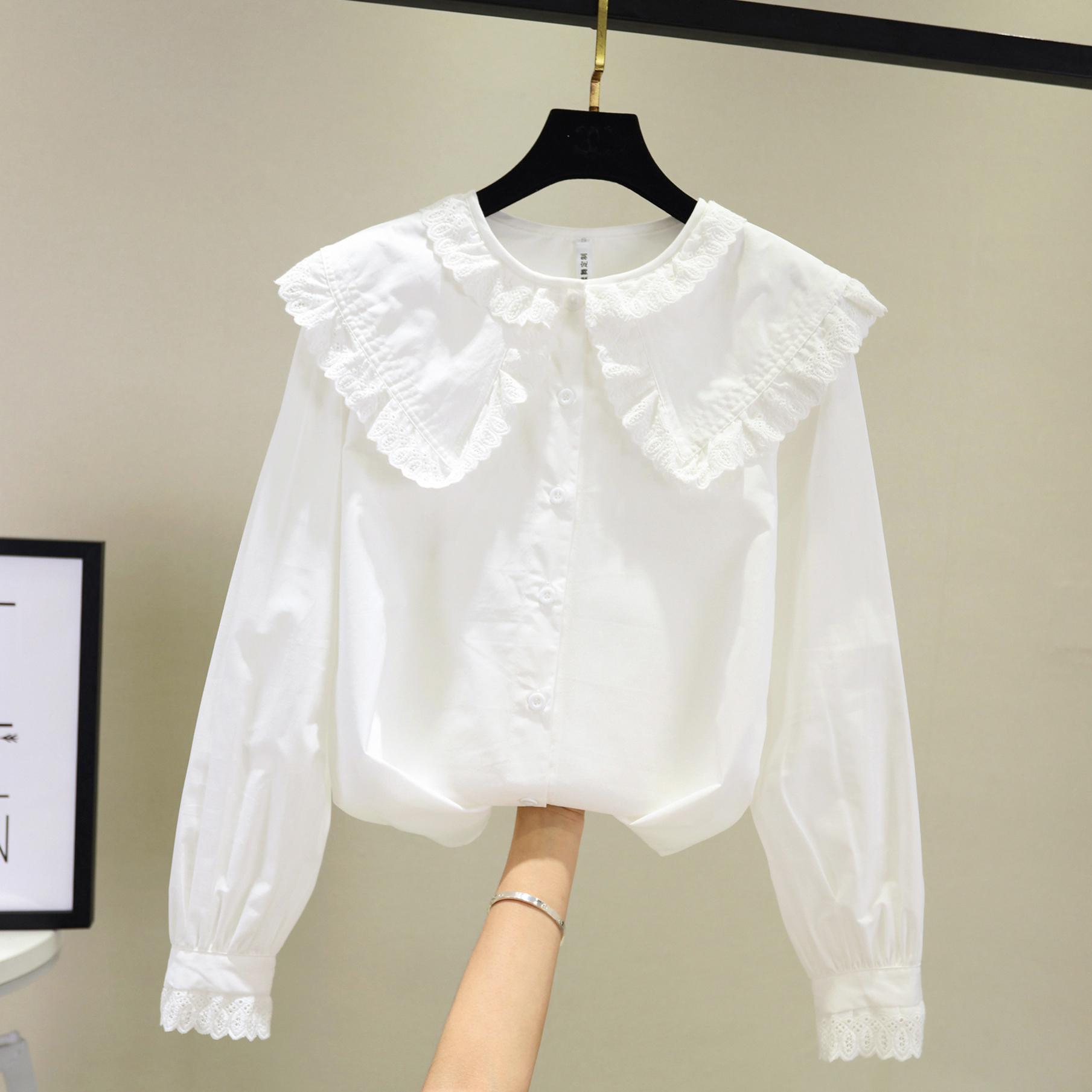 白色娃娃领衬衫女设计感小众2021新款秋韩版复古港味洋气长袖上衣