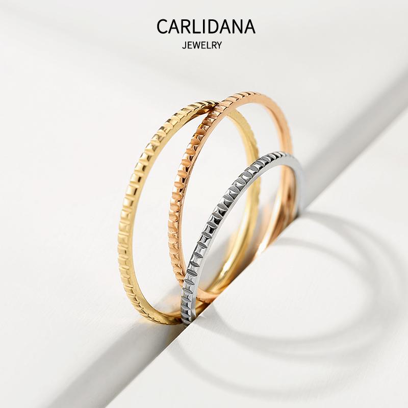 镀金小方块凸面光圈戒指日韩简约一圈指环潮流极简食指尾戒18K