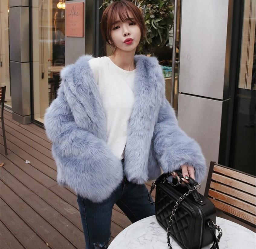 新款狐狸毛外套女短款显瘦毛毛长袖外套时尚仿皮草外套秋冬大衣