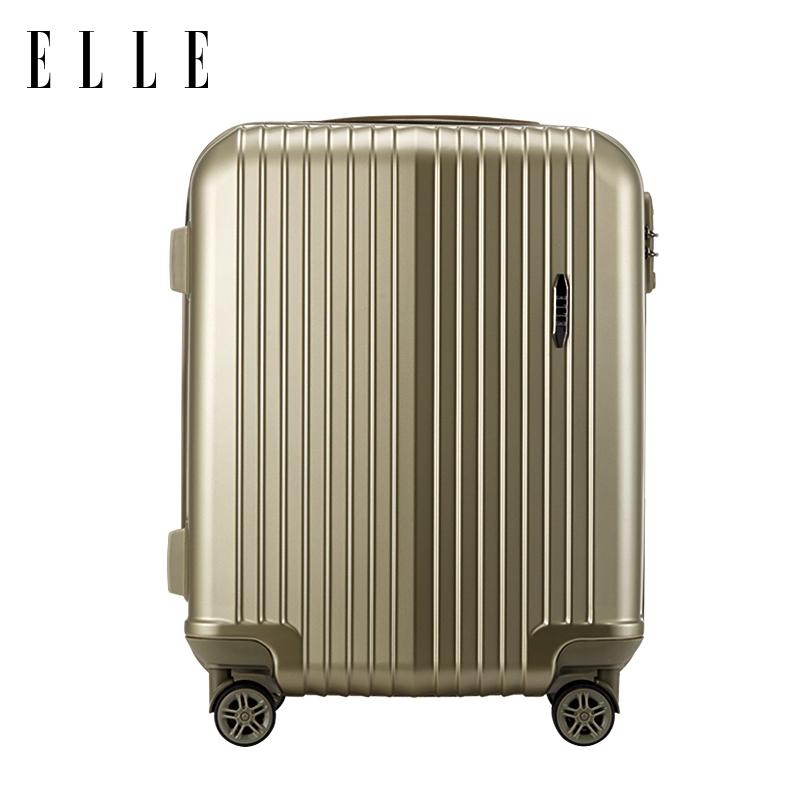 ELLE拉杆箱男女行李箱万向轮18寸拉链金色商务箱时尚密码旅行箱