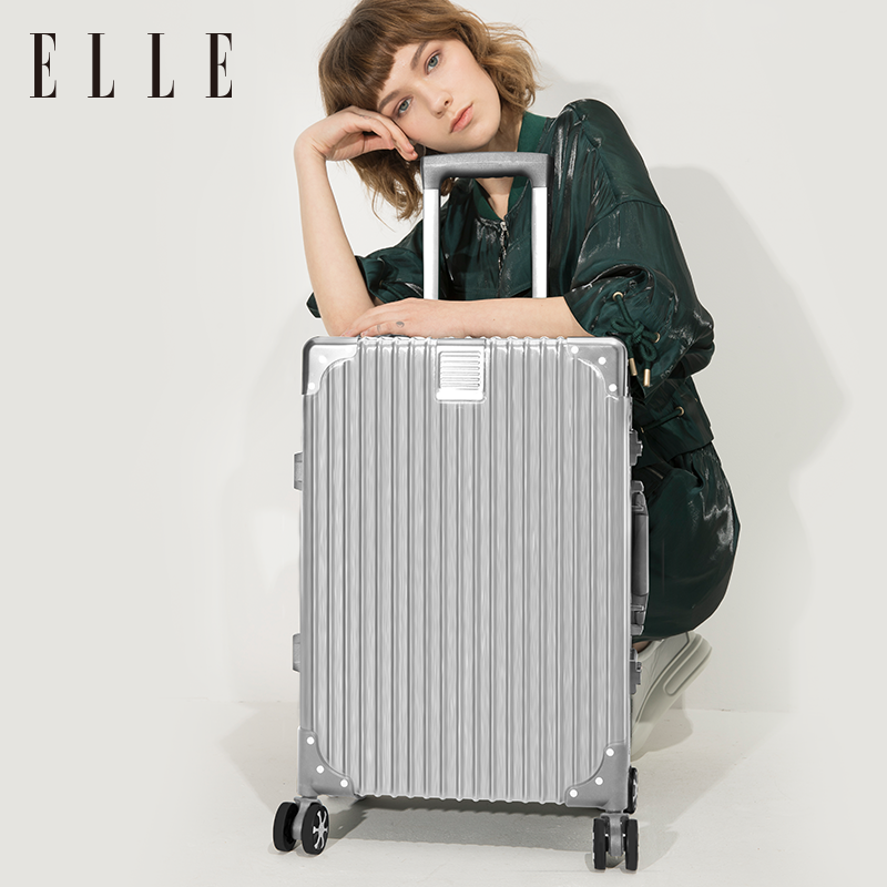 ELLE拉杆箱24寸男女时尚商务万向轮铝框学生旅行箱登机行李箱20
