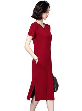 红色短袖女夏莫代尔v领遮肚连衣裙