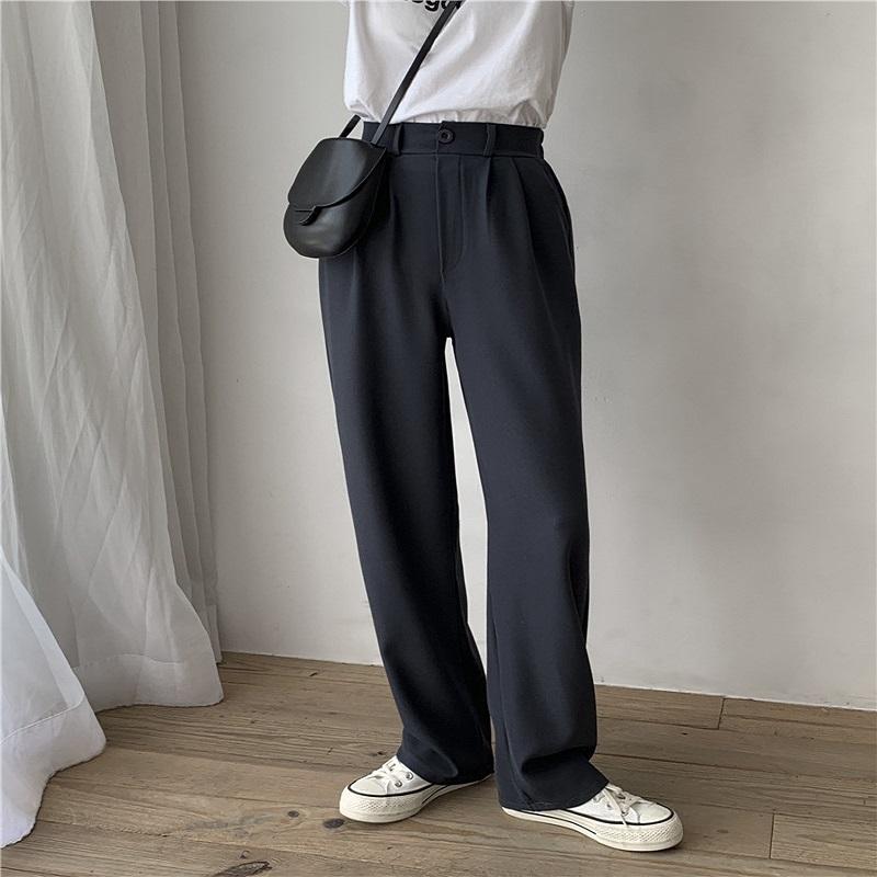2021春夏季新款阔腿裤女高腰显瘦垂感薄款宽松直筒西装拖地裤子