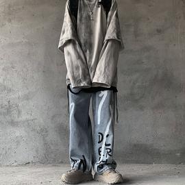 黑衣先生 手绘涂鸦牛仔裤复古高街嘻哈阔腿oversized长裤小众潮牌