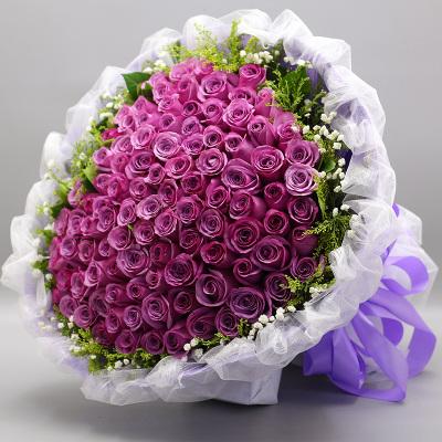 紫玫瑰花束北京鲜花同城速递温州台州鲜花店西安成都重庆杭州送花