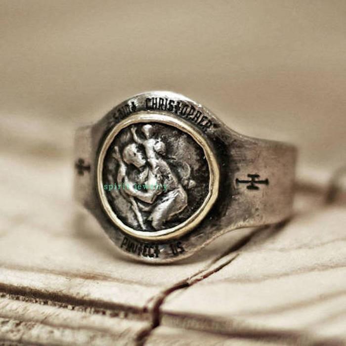 纯银男士人像徽章戒指圣克里斯托弗环老式乡村笨重守护神饰品新款