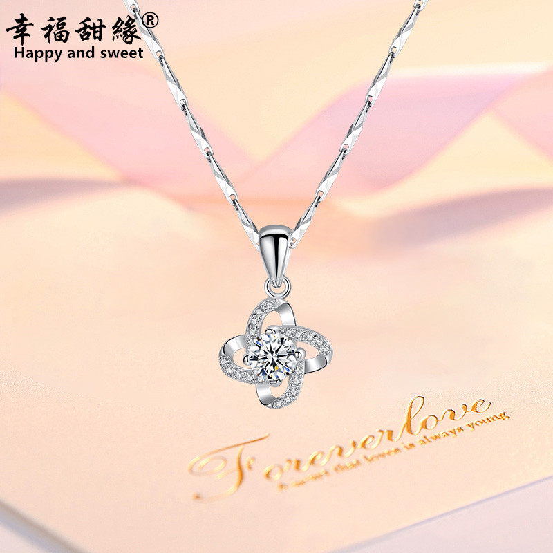 Four leaf clover Sterling Silver Necklace female Korean version simple student Sen series clavicle chain pendant for girlfriend and girlfriends jewelry gifts