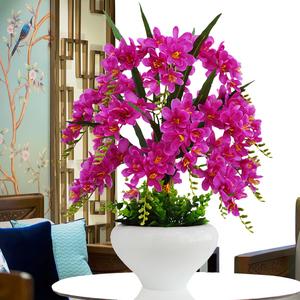 蝴蝶兰仿真花套装摆件假花绢花塑料花家居客厅茶几电视柜装饰摆设