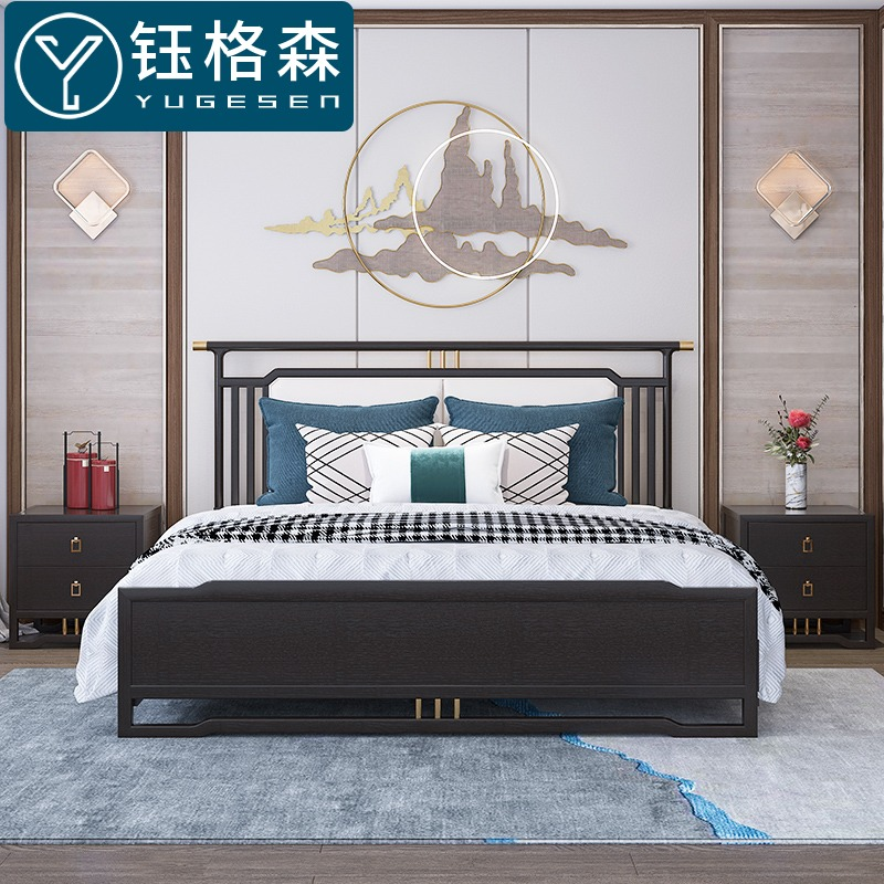 Yugesen new Chinese solid wood bed modern light luxury 1.8m master bedroom double wedding bed white wax wood leather bed 1.5m