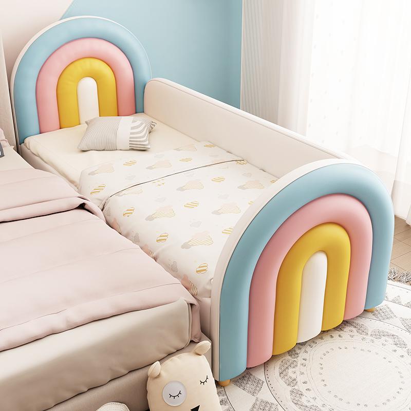彩虹儿童床男孩单人床女孩公主床边床加宽小床带护栏婴儿拼接大床