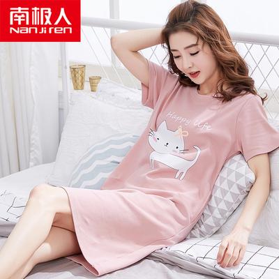 南极人韩版睡裙夏天短袖纯棉连衣裙
