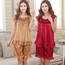 特大码睡衣女士胖mm200斤夏季款短袖性感两件套装加肥加大裙