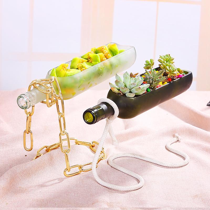 創意diy編み糸ステント赤いボトルのテーブルの上に浮遊している花瓶の食器、金魚鉢の水培趣味多肉鉢