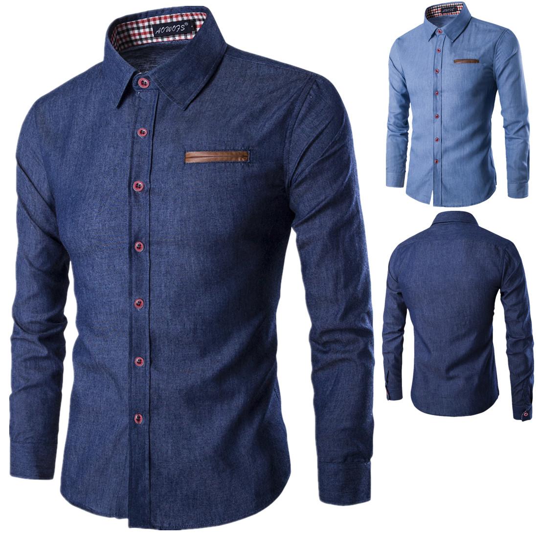 男襯衫men Jeans shirt desgin Men cowboy cotton d