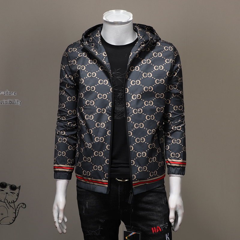 European station big brand style printing mens hooded slim fit jacket trend large size coat autumn thin coat men