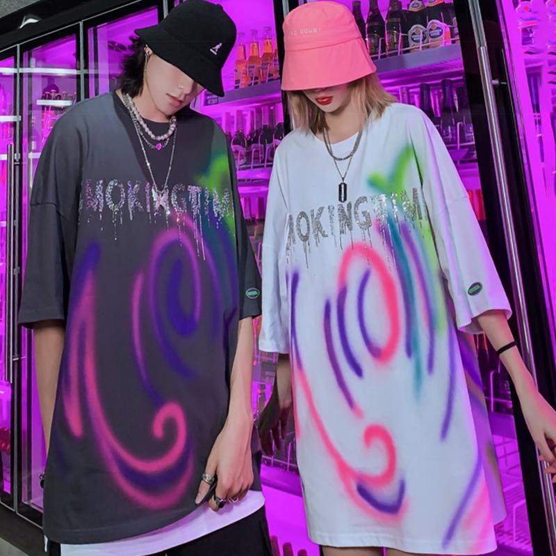 THRC trendy street trend creative graphic print personalized versatile short sleeve mens ins Pullover crew neck T-shirt