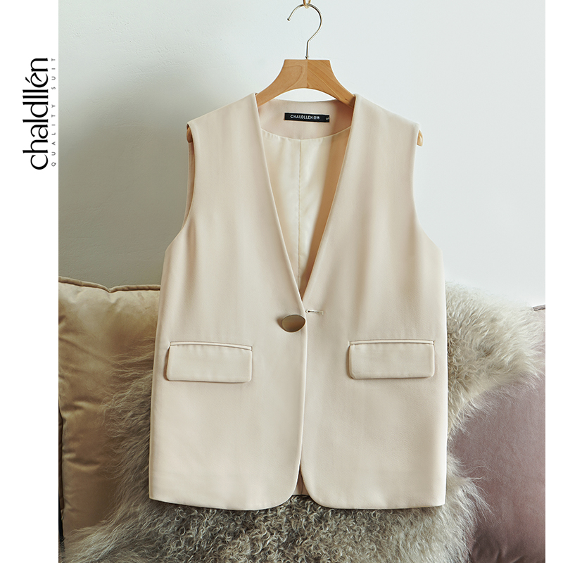 CHALDLLEN/Chalin rice white suit vest female new spring and autumn style suit vest British style 859