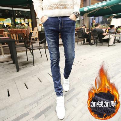 加绒牛仔裤男冬季修身小脚裤韩版潮流冬天学生保暖裤男 512-P60