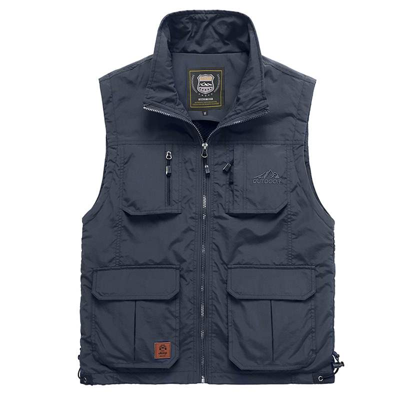 Multi Pocket Vest mens outdoor quick drying spring and autumn sleeveless jacket standing collar loose oversized fishing photography military vest