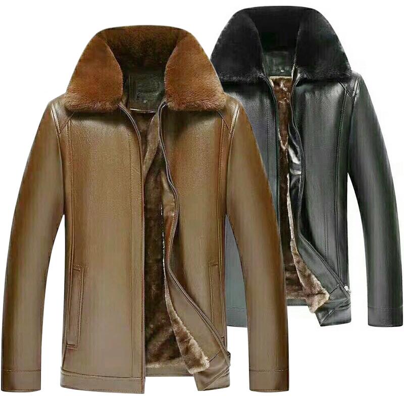 中老年皮衣男皮毛一體PU皮夾克爸爸裝加絨加厚大碼毛領老人冬外套