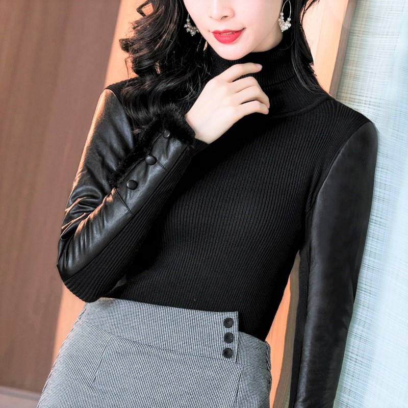 Autumn and winter new leather sleeve base coat womens medium long high neck sweater with fur down cotton sleeve knitwear