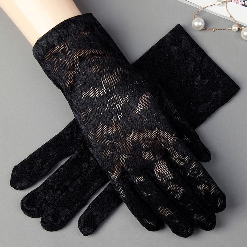 黑色蕾丝薄款冰丝防晒短款手套价格/报价_券后14.9元包邮