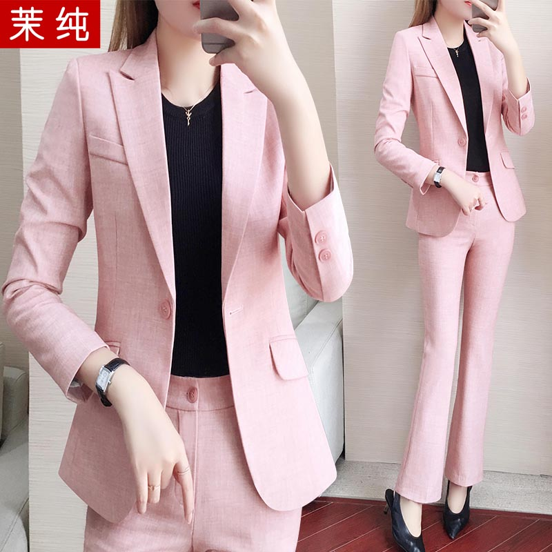 Pink suit jacket women's new autumn and Korean version of fashion temperament goddess Fan Jinghong small suit professional suit in 2019