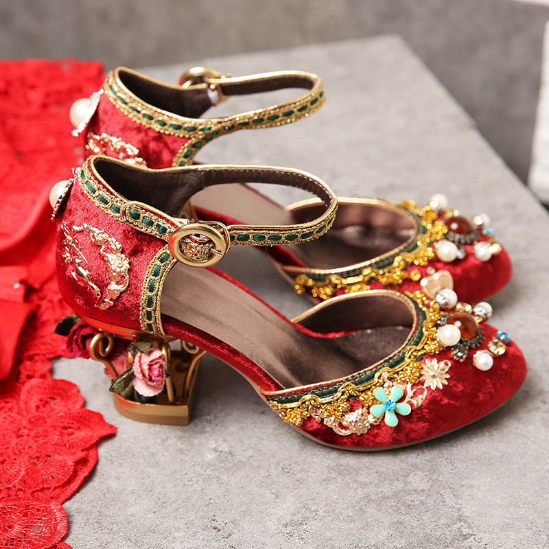 Chinese style red wedding shoes court retro birdcage shoes thick heel inlaid with diamond dragon and Phoenix bride shoes cheongsam shoes womens high heel shoes