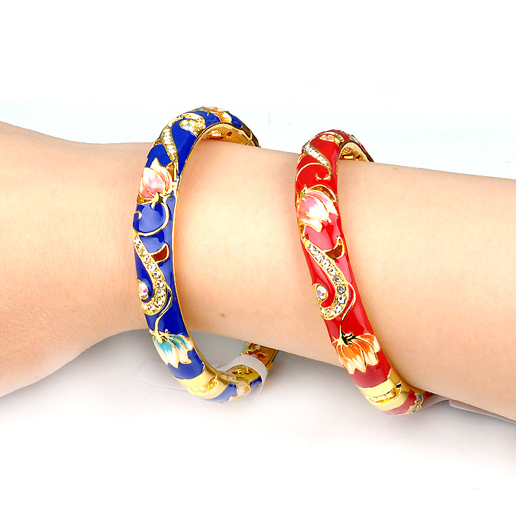 8130 Beijing Cloisonne Bracelet double crystal female Bracelet ethnic style gold plated jewelry gift on Chinese Valentines Day