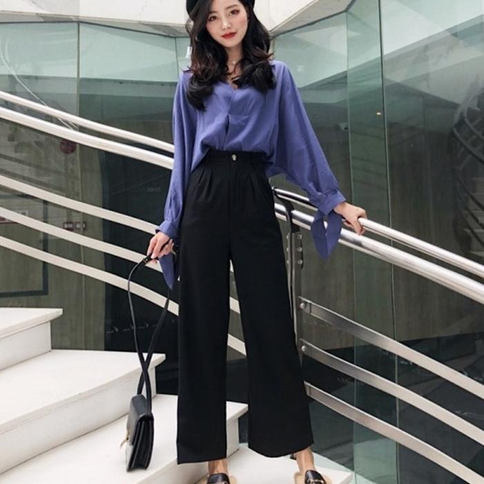 2019春装新款袖口蝴蝶结衬衫上衣+高腰阔腿裤两件套时尚套装女潮