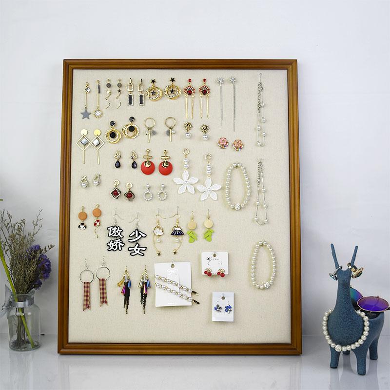 耳环展示架实木相框挂墙家用首饰架耳钉项链女饰品架子耳饰收纳架