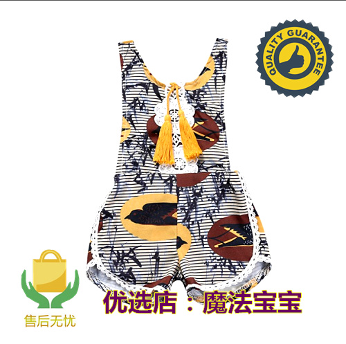 Exported to Europe and the United States childrens wear ins summer floral girls sleeveless tassel Jumpsuit vest Jumpsuit trend