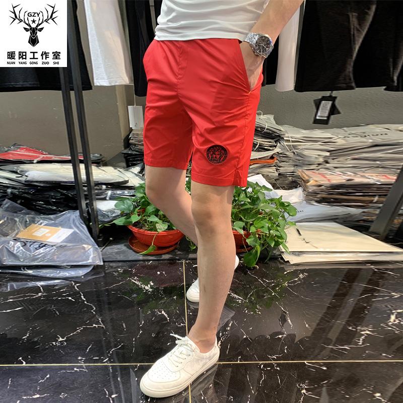 2020夏季新款个性图案刺绣印花短裤潮流男修身大码潮流中裤五分裤