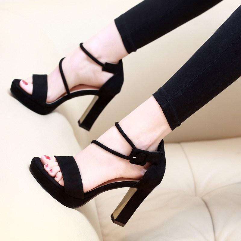 Waterproof versatile butterfly buckle high heels womens summer Korean Taiwan suede summer sandals new thick heel 2019