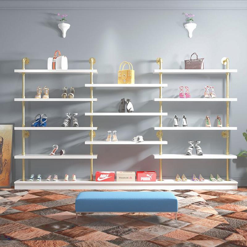 鞋店鞋货架童鞋女鞋展示架鞋架墙上置物架化妆品架精品包包架展柜图片