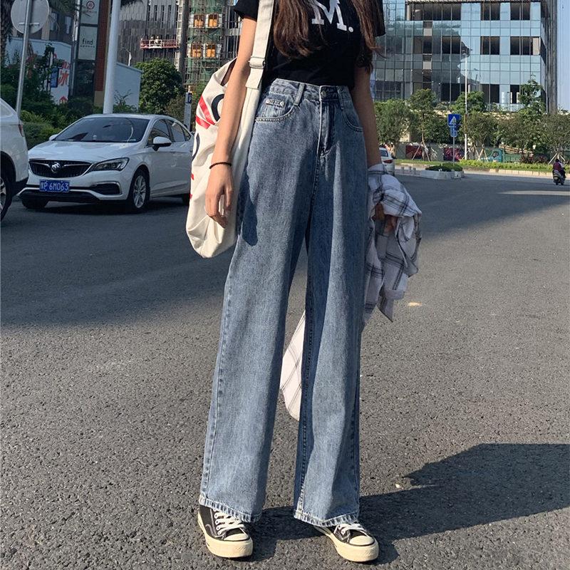 阔腿女2019新款秋直筒宽松牛仔裤11-07新券