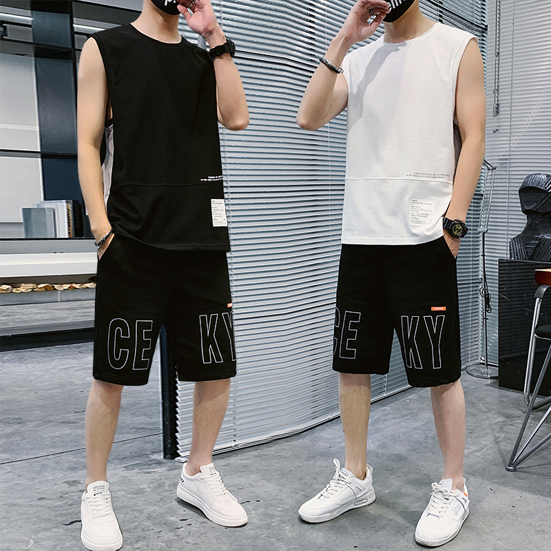 Summer sleeveless T-shirt mens casual suit Korean fashion shorts mens suit a versatile and handsome students two piece set