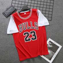Basketball team vest men's and women's short sleeve T-shirt fake two bulls, Lakers and bucks Team Jersey short T basketball suit