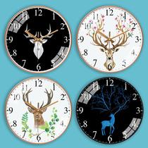 挂钟鹿头森系小鹿客厅北欧钟表家用创意时钟现代简约大气石英钟
