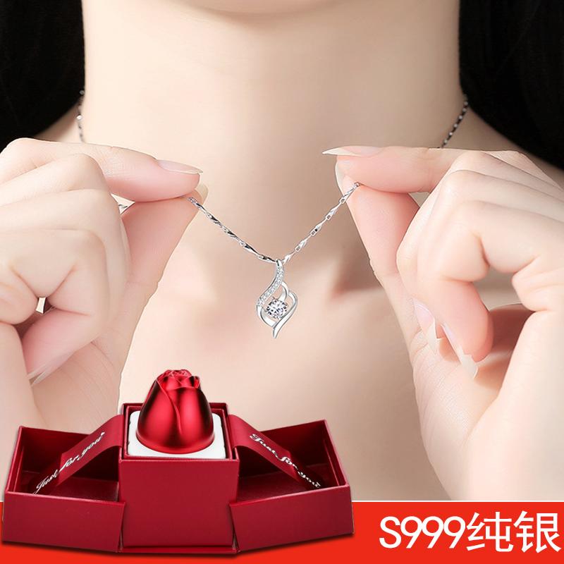 纯银锁骨项链女镶嵌宝石流行韩版首饰情人节生日礼物送朋友礼盒装